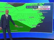 Rain in forecast for Wednesday but severe weather will be south of us