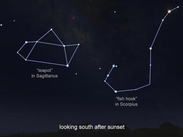 The teapot and hook are asterisms, easy to spot patterns within larger constellations.<br/>Reporter: Tony Rice