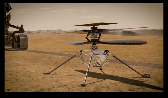 NASA's Ingenuity Mars Helicopter stands on the Red Planet's surface as NASA's Mars 2020 Perseverance rover (partially visible on the left) rolls away.  Ingenuity, a technology experiment, will be the first aircraft to attempt controlled flight on another planet. It will arrive on Mars on Feb. 18, 2021, attached to the belly of NASA's Perseverance rover. Perseverance will deploy Ingenuity onto the surface of Mars, and Ingenuity is expected to attempt its first flight test in spring 2021.<br/>Reporter: Tony Rice