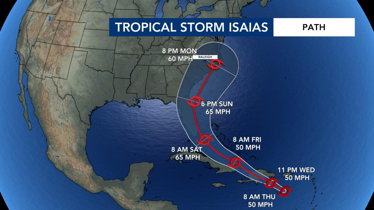 Tropical Storm Isaias Could Impact Nc On Monday And Tuesday Wral Com