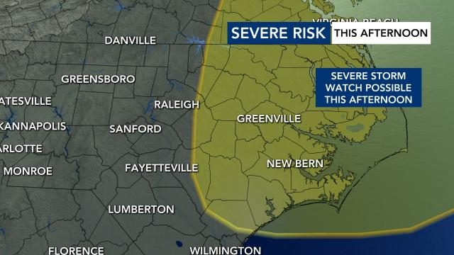 The threat for severe weather is shifting to our eastern counties