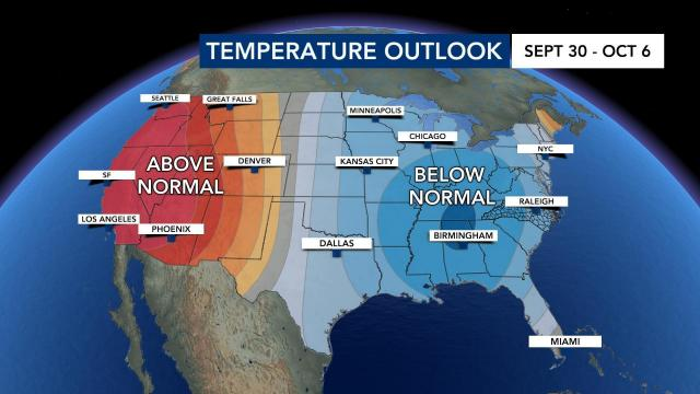 Temperature outlook for Sept. 30-Oct. 6