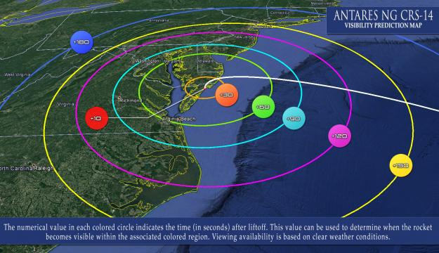 NASA rocket launch visible across the Mid-Atlantic