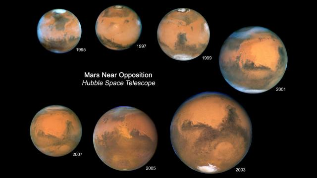 "Every 26 months Mars is opposite the Sun in our nighttime sky. Since 1995, Mars has been at such an ""opposition"" with the Sun seven times. A color composite from each of the seven Hubble opposition observations has been assembled in this mosaic to showcase the beauty and splendor that is The Red Planet. This mosaic of all seven globes of Mars shows relative variations in the apparent angular size of Mars over the years. Mars was the closest in 2003 when it came within 56 million kilometres of Earth. The part of Mars that is tilted towards the Earth also shifts over time, resulting in the changing visibility of the polar caps. Clouds and dust storms, as well as the size of the ice caps, can change the appearance of Mars on time scales of days, weeks, and months. Other features of Mars, such as some of the large dark markings, have remained unchanged for centuries. (images: NASA/Space Science Institute)"