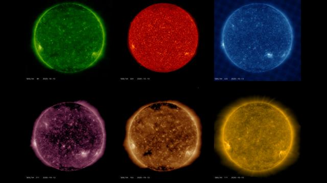 The Sun viewed in many wavelengths by the Solar Dynamics Observatory (SDO)