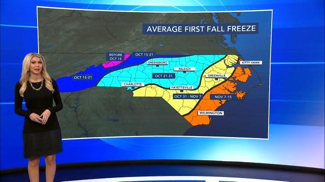 Average first fall freeze dates