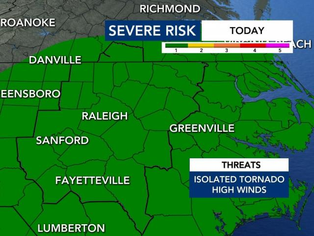 North Carolina is under a level 1 risk for severe weather on Thursday as remnants from Tropical Storm Zeta pass to our west.