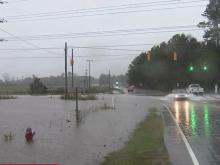 Floodwaters wash over roads in Nash, Edgecombe counties