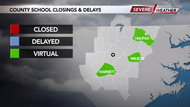Harnett, Halifax and Wilson counties will hold virtual classes on Friday due to flooding.