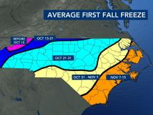 Average first fall freeze