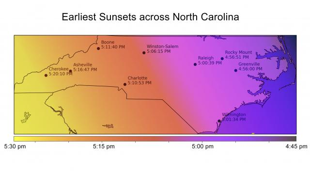 Earliest sunsets across North Carolina