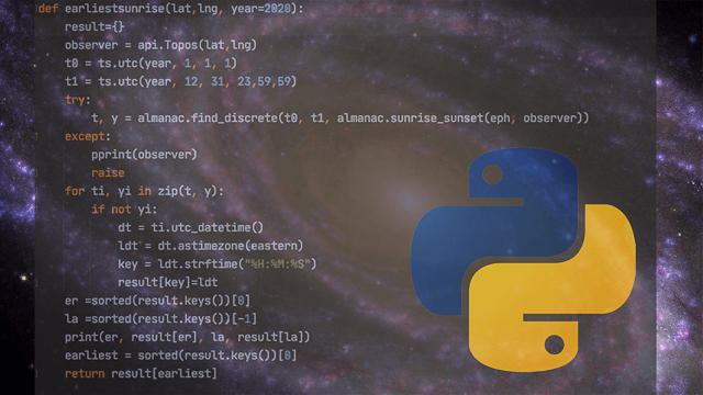 Coding in the Python Language for astronomy
