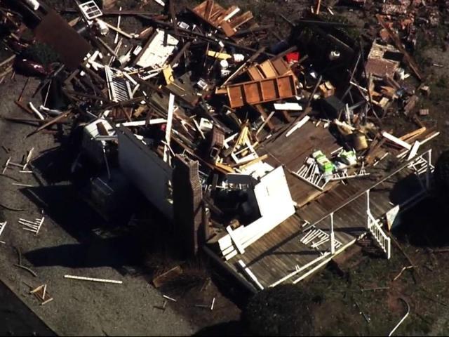 A tornado tore through a neighborhood near Ocean Isle Beach on Feb. 15, 2021.<br/>Photographer: Edward Wilson