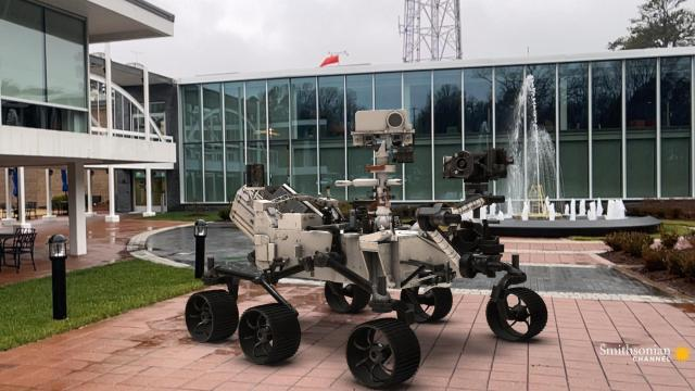 This 1:1 scale digital model of the Perseverance Mars rover outside WRAL's studios gives an idea of how large this robot is.  (Tony Rice/Smithsonian Channel)
