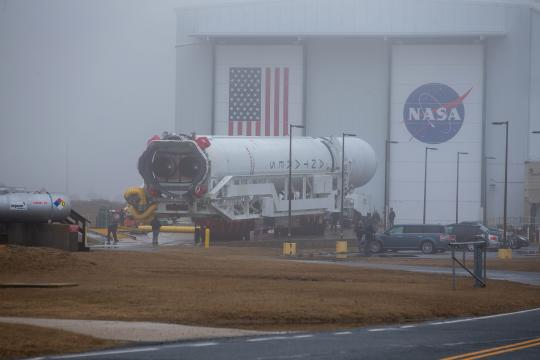 The Antares rocket is rolled out ot the Wallops Island Virginia launchpad ahead of the NG CRS-15 mission