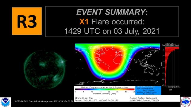 The National Oceanic and Atmospheric Administration (NOAA) Space Weather Prediction Center reported a radio dimming caused by a solar flare on July 3, 2021.