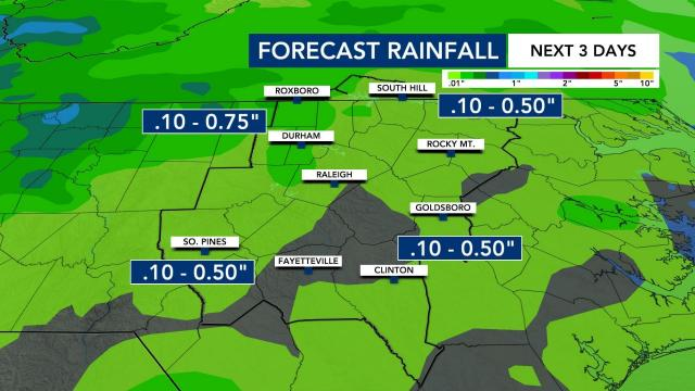 Up to 1.5 inches of rain is expected in the Triangle over the next couple of days