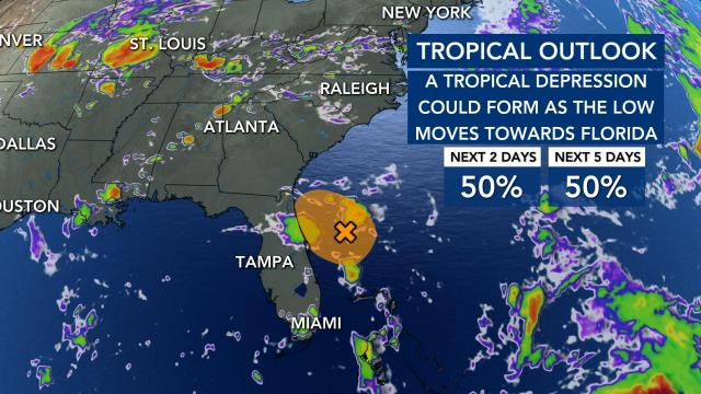 A Tropical Depression is looking less and less likely as the days go on.