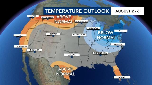 Temperature outlook Aug. 2-6
