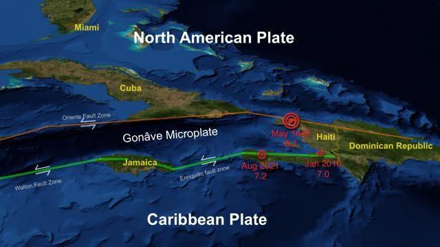 3 major earthquakes have occurred in Haiti which lies along fault lines between the North American and Caribbean tectonic plates