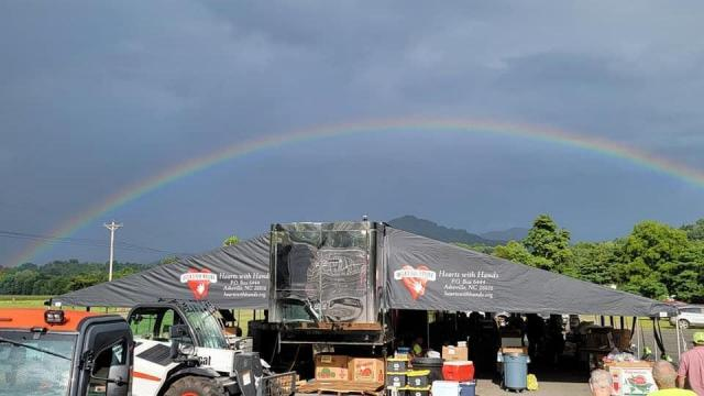 Rainbow shines over disaster relief tents set up in Bethel, NC. Photo captured by Deanna Bryd.