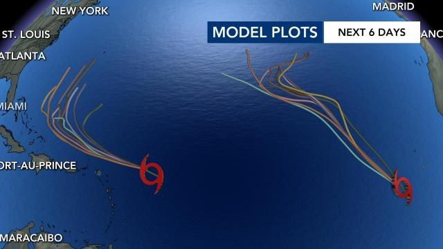Model plots of Tropical Storm Peter and Tropical Storm Rose