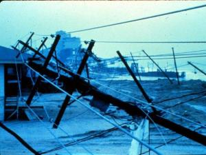 Utility poles and lines down in Garden City, South Carolina After passage of Hurricane Hugo