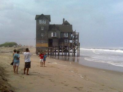 A Rodanthe house made popular by the movie ' Nights in Rodanthe' was closed to renters Saturday, August, 22, 2009, when Hurricane Bill brought high surf.