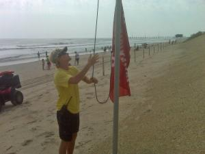 "Along the North Carolina coast, lifeguards hung red ""No Swimming"" flags to warn of dangerous rip currents in the wake of Hurricane Earl on Saturday, Sept. 4, 2010."