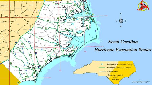 North Carolina Coastal Evacuation Routes And Plans WRALcom - Map of north carolina coast