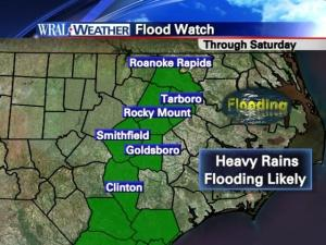 Much of eastern North Carolina is under a flash flood watch through the weekend.