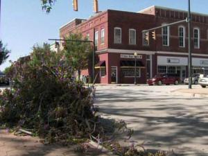 Debris from Hurricane Irene lines the streets of New Bern