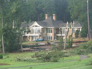 A tornado touched down one mile southeast of Pinehurst at 6:40 a.m., Moore County Emergency Manager Scot Brooks said. All the damage was contained to a golf course, officials said. Long-leaf pine trees were blown down and snapped. (Photo courtesy of Moore County Emergency Manager Scot Brooks)