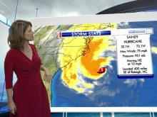 Hurricane Sandy is expected to make her way up the U.S. coastline, passing North Carolina. Here's a look at the storm's projected path and estimated wind speeds.