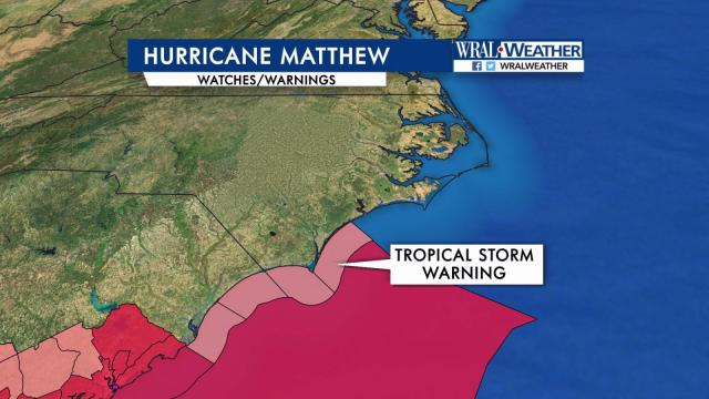 Tropical Storm warnings for Matthew - 5 p.m. Thursday, Oct. 6, 2016