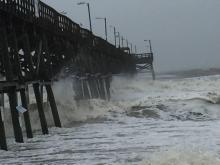 Raw: Part of Oak Island pier collapses in Hurricane Matthew