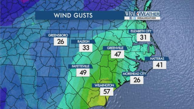Wind gusts at 9 p.m. Oct. 8, 2016