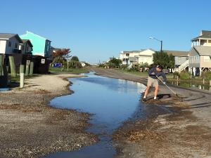 Leyla Santiago sends this image from Oak Island, where residents are already cleaning up from Hurricane Matthew.