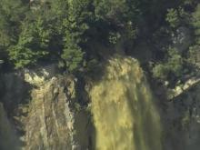 Sky5: Floodwaters gush into quarry near Rocky Mount
