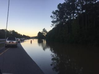 The Tar River washed over its banks and onto U.S. Highway 64 near the Nash-Edgecombe County line.