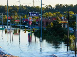 Highway 301 in Rocky Mount at the interchange with Highway 64 on Sunday, Oct. 9. The Tar River flooded the area after Hurricane Matthew hit the area on Oct. 8. (Photo By: Nick Stevens/WRAL)