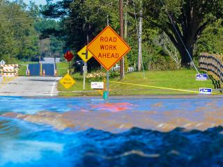 Highway 210 in Smithfield was closed by flooding from Middle Creek on Monday, Oct. 10, 2016. (Photo By: Nick Stevens/WRAL)