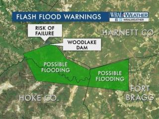 A mandatory evacuation was underway Monday night as officials in Moore County announced an imminent breach of the Woodlake Dam.