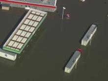 McDonald's, gas stations surrounded by flood water in Kinston