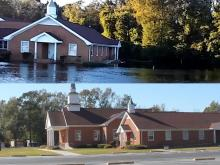 Before and after flooded church