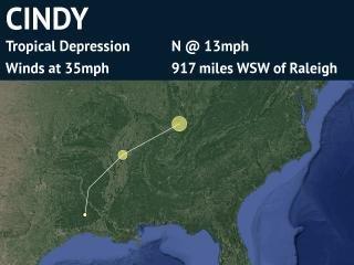 Forecast Track for Tropical Depression Cindy (detailed)