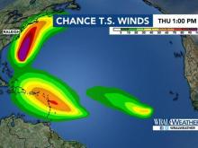 Chance of tropical storm force winds