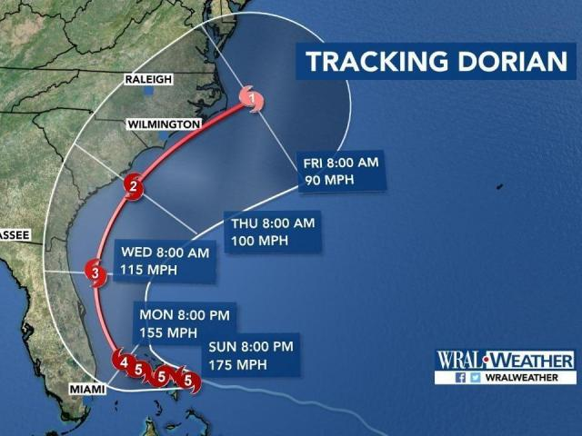 Dorian projected path Sunday 11 am