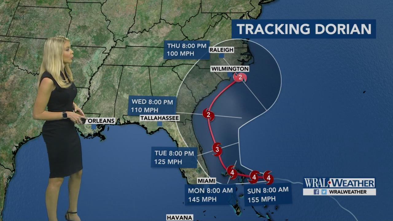 Dorian 5 A M Update Storm Remains Category 4 Could Impact Nc By Thursday Wral Com
