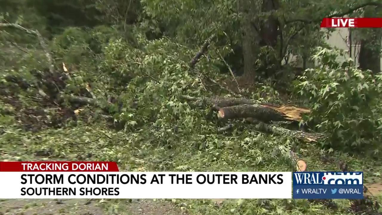 Northern part of Outer Banks sees flooding, trees down, part